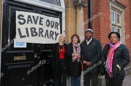 Editorial picture of Protestors Outside The Kensal Green Library Angry At The News That This Library Along With Others In The Borough Are To Close. L-r Maggie Gee Margaret Bailey Phil (surname Not Given) And Pam Clarke.