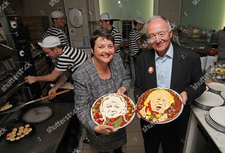 Food Artist Prudence (no Surname Given) In Collaboration With Pizza Express Has Produced Two Specialty Pizzas. One Designed With The Face Of Former Mayor Of London Ken Livingstone The Other With The Face Of Current Mayor Boris Johnson. London Assembly Member Val Shawcross.
