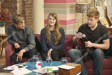 Ed Speleers (footman, Jimmy Kent), Cara Theobold (kitchen maid, Ivy Stuart) and Matt Milne (footman and nephew of Mrs O'Brien, Alfred Nugent)
