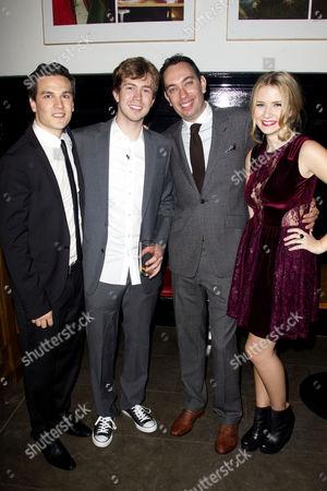 Stock Photo of Aaron Sidwell (Michael Dork), James Bourne, Elliot Davis and Eliza Hope Bennett (Holly Manson)