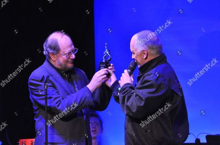 Stock Picture of Donnie Kehr presents Rupert Holmes with the Rockers on Broadway Lifetime Achievement Award