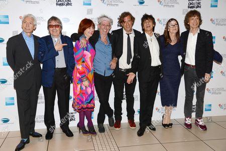 Charlie Watts, Bill Wyman, Claire Stewart, Keith Richards, Brett Morgen, Ronnie Wood, Victoria Pearman and Mick Jagger