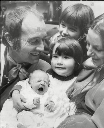 Ian Hendry And His Wife Sandy With Daughters Shirley And Corrie With Baby Rum Who Was Born Early In The Morning.