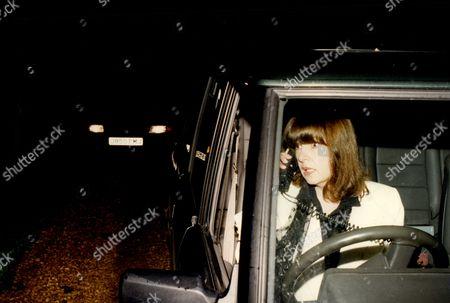 Charlotte Bingham Author Using Car Phone In Range Rove 1994.
