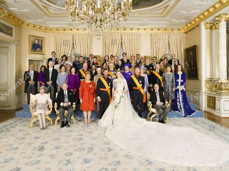 Queen Fabiola, Grand Duke Jean of Luxembourg, Grand Duchess Maria Teresa of Luxembourg, Hereditary Grand Duke Guillaume and Countess Stephanie de Lannoy, Grand Duke Henri of Luxembourg, Count Philippe de Lannoy, 2nd row - left to right : Guest, Guest, Queen Silvia, King Harald, Queen Sonja, Prince Henrik, Queen Margrethe II, Queen Beatrix, Queen Paola and King Albert II, Princess Lalla Salma of Morocco, 3rd row - left to right : Prince Hassan bin Talal of Jordan, Princess Sarvath El Hassan of Jordan, Crown Princess Letizia, Crown Prince Felipe, Crown Prince Naruhito of Japan, Sophie Countess of Wessex, Prince Edward, Princess Caroline of Hanover, Crown Prince Willem-Alexander, Crown Princess Maxima, 4th row - left to right : Queen Anne-Marie, King Constantine, Crown Princess Mary, Crown Prince Frederik, Crown Princess Mathilde, Crown Prince Philippe, Crown Princess Mette-Marit, Crown Prince Haakon, Crown Princess Victoria, Prince Daniel, HE Sheikh Nahyan Bin Mubarak Al Nahyan of Abu Dhabi, 5th row - left to right : Prince Radu of Romania, Crown Princess Margarita of Romania, Princess Tessy of Luxembourg, Prince Louis of Luxembourg, Princess Alexandra of Luxembourg, Prince Felix of Luxembourg, Prince Sebastien of Luxembourg, Queen Margarita and King Simeon II of Bulgaria