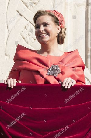 Grand Duchess Maria Teresa of Luxembourg on the balcony