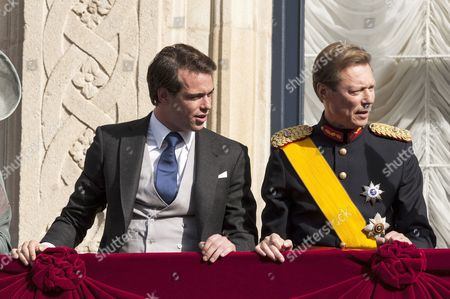 Prince Felix of Luxembourg and Grand Duke Henri of Luxembourg on the balcony