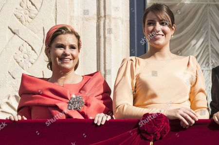 Grand Duchess Maria Teresa of Luxembourg and Princess Alexandra of Luxembourg on the balcony