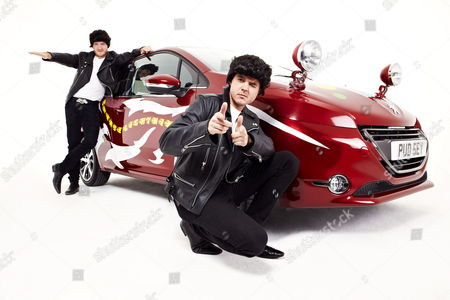 Matt Littler and Darren Jeffries as T-Birds from Grease with a Greased Lightning Peugeot 208