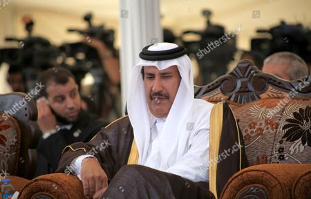 Qatar prime minister Sheikh Hamad bin Jassim bin Jaber Al Thani attends the opening ceremony for housing project in the southern Gaza Strip town of Khan Yunis