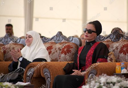 Amal Haniyeh and Qatar's First Lady Sheikha Mozah Bint Nasser Al Missned attend the opening ceremony for housing project in the southern Gaza Strip town of Khan Yunis