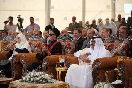 The Emir of Qatar Sheikh Hamad bin Khalifa Al Thani and his wife Sheikha Mozah bint Nasser al-Missned attend cornerstone laying ceremony for Hamad, a new residential neighbourhood in Khan Younis