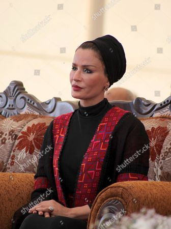 Qatar's First Lady Sheikha Mozah Bint Nasser Al Missned attends the opening ceremony for housing project in the southern Gaza Strip town of Khan Yunis