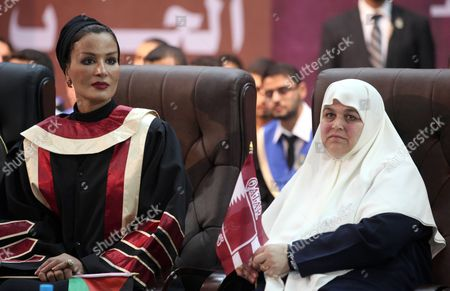 Qatar's First Lady Sheikha Mozah Bint Nasser Al Missned with Amal Haniyeh during a celebration at the Islamic University in Gaza city