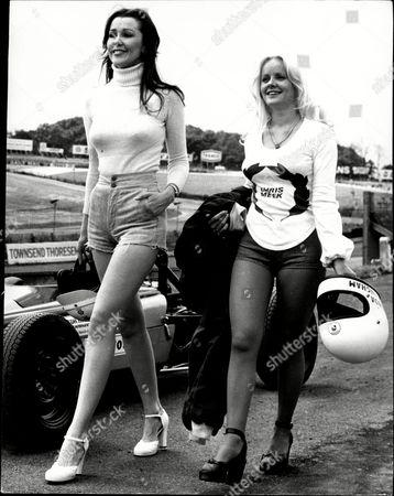 Glamour Model Linda Hooks And Actress Linda Cunningham At Brands Hatch.