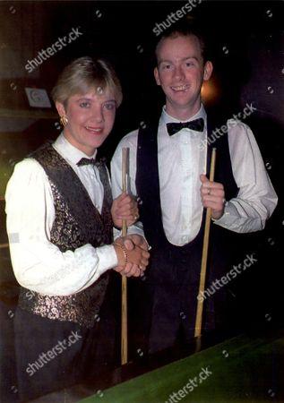 Allison Fisher The Women's World Snooker Champion Playing Karl Burrows In The World Snooker Championships.