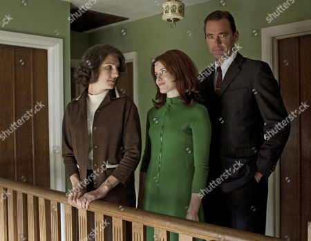 Stock Picture of Tamsin Greig as Beth, Claire Foy as Charlotte and Richard Lintern as Miles