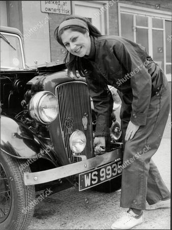 Jane How Actress In Overalls With Vintage Car 1980.