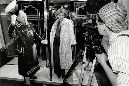 Jane How Actress In Fur Coat Being Greeted By Hotel Doorman While Photographed By Ashley Gray 1989.