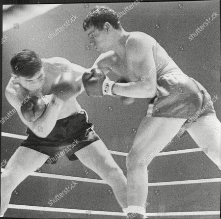 Stock Picture of Terry Downes Fighting Fellow Boxer Mike Pusateri 1963.