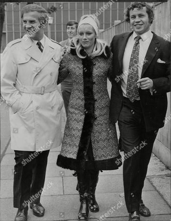 Terry Downes Boxer With Wife Barbara Downes And Manager / Promoter Mickey Duff All Leaving Court 1970.