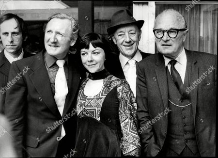 Actor Sir Alec Guinness At 'save London's Theatres' Protest L-r Leslie Phillips Dorothy Tutin Sir Alec Guinness And Nigel Patrick Outside Department Of The Environment Sir Alec Guinness Ch Cbe (2 April 1914 A 5 August 2000) Was An English Actor. After An Early Career On The Stage He Was Featured In Several Of The Ealing Comedies Including Kind Hearts And Coronets In Which He Played Eight Different Characters. However He Was Probably Best Known For His Six Collaborations With David Lean: Herbert Pocket In Great Expectations (1946) Fagin In Oliver Twist (1948) Col. Nicholson In The Bridge On The River Kwai (1957 For Which He Won The Academy Award For Best Actor) Prince Faisal In Lawrence Of Arabia (1962) Yevgraf In Doctor Zhivago (1965) And Professor Godbole In A Passage To India (1984). In Later Years He Achieved Fame With Younger Audiences For His Role As Obi-wan Kenobi In George Lucasas Original Star Wars Trilogy.