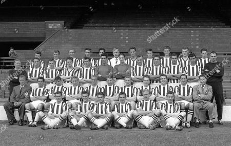 West Bromwich Albion football team 1958 including Bobby Robson (bottom left) and Don Howe Back Row-Left to Right...Barry Cooke, John Carvin, Bobby Cram, Archie Styles. Mike Dunsmore, Fred pedley (Physio), Brian Winterborn, Keith Smith, Brian Wood, Ron Bradley, Ron Whale; Second Row: W G Richardson (Coach), Mike Robinson, Davey Burnside, A Jones, J.C O'Neil, Clive Jackman, Ray Potter, Jimmy Dudley, Stuart Williams, Barry Hughes, Joseph Patrick Kennedy II, Dick Graham (Trainer) Third Row; (seated)..Vic Buckingham (Manager), Ronnie Allen, Jimmy campbell, Chuck Drury, Maurice Setters, Ray Barlow, Derek Kevan, Roy Horobin, Brian Whitehouse, Derek Hogg, Gordon Clark (Assnt manager); On Ground:...Bobby Robson, D Finch, Tony Forrester,  Alec Jackson, Don Howe, Frank Griffin.