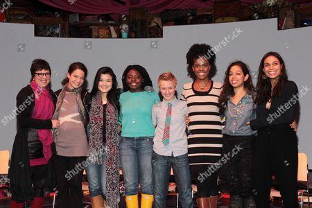Stock Picture of Eve Ensler, Molly Carden, Olivia Oguma, Joaquina Kalukango, Emily S. Grosland, Ashley Bryant, Sade Namei and Rosario Dawson