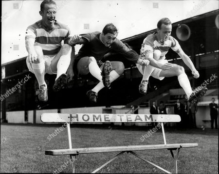 Qpr Footballers Ray Brady Peter Springett And Pat Brady During Training Session At Loftus Road.