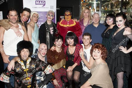 Philip Salon, Paul Baker (Philip Salon), Sam Buttery (Leigh Bowery), Matt Lucas, Katie Kerr (Sue Tilley), Niamh Perry (Kim) and members of the cast