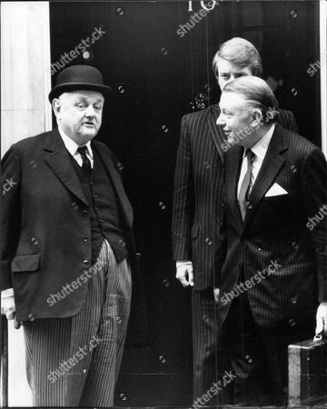 Lord Hailsham (dead October 2001) (nee Quintin Hogg) And Francis Pym Outside 10 Downing Street.