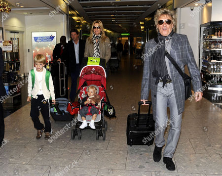 Penny Lancaster and Rod Stewart with sons Alastair Wallace Stewart and Aiden Stewart