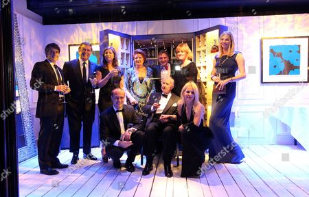 Chef Raymond Blanc Prepared And Hosted A Celebrity Martell Dinner Inside A Window Of Harrods In Knightsbridge. Guests (not In Order): Raymond Blanc Natalia Traxel Benoit Fils Sir Michael Terry Wogan Lady Helen Wogan Sir Terence Conran Lady Vicki Conran Jodie Kidd Karren Brady And Paul Peschisolido.