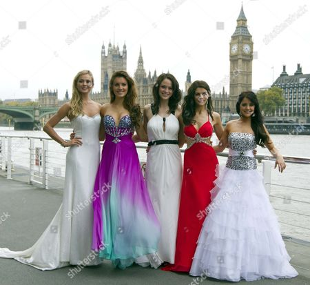 Miss England Alize Lily Mounter Irelandas Holly Carpenter Scotlandas Jennifer Roach Northern Irelandas Finola Guinnane And Walesas Sarah Manchipp In London.