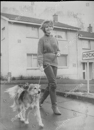 Actress Dee Hepburn Walking Dog Bonnie At Her Home In Scotland.