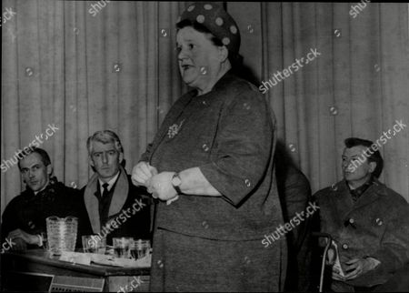 Bessie Braddock (dead November 1970) The Mp For Liverpool Exchange Speaking On A Platform With In The Background Actors Dudley Foster Tohan O'casey And Clive Dunn.