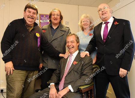 Basingstoke UKIP PR Phil Heath (left), Alan Stone, the chairman of the local UKIP party, Anne Williams, treasurer of the local party and Stephen West, a former Tory who joined UKIP in Basingstoke