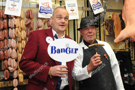 Stock Photo of Al Murray and butcher Michael Giggs