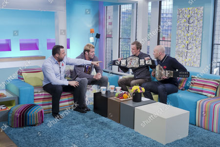 Santino Marella and Zack Ryder with Tim Lovejoy and Simon Rimmer