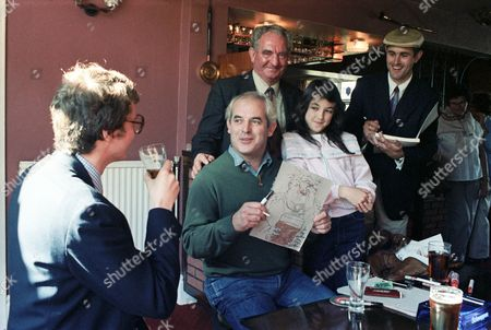 Stock Image of Stephen Pile, Ralph Steadman, Humphrey Ocean and locals