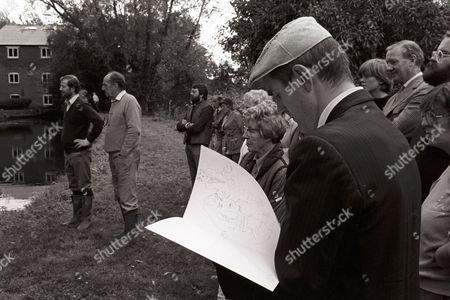 Behind the scenes. Michael Hordern, locals, crew and Humphrey Ocean