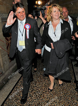 Bnp Party Leader Nick Griffin With Wife Jackie Griffin European Parliamentary Election Count North West Region At Manchester Town Hall.  7/6/09 Nicholas Griffin Jacqueline Griffin Jacqueline Cook Jackie Cook.