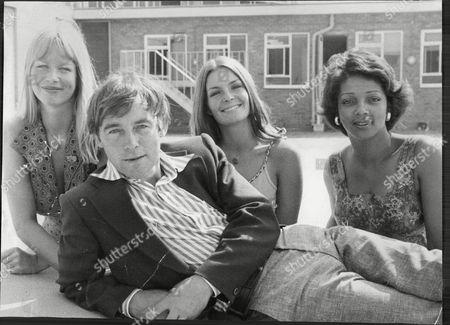 Stock Photo of Peter Jayston With Fellow Actors Moira Foot Jola Blaik And Valerie Murray 1975.