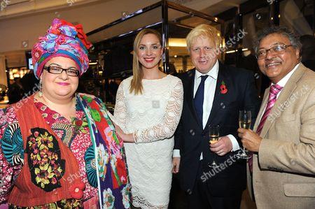 Stock Image of Kids Company founder Camila Batmanghelidjh (left) and Boris Johnson (third from left) with Evening Standard columnist Mihir Bose
