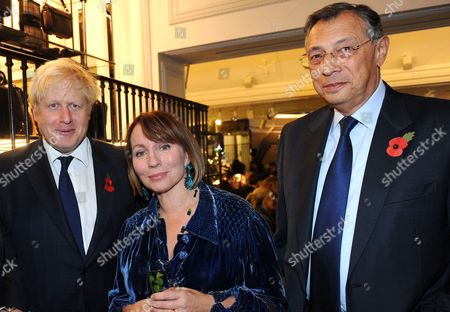 London Mayor Boris Johnson, Evening Standard editor Sarah Sands and Sir George Iacobescu, Chairman and Chief Executive Officer of Canary Wharf Group.
