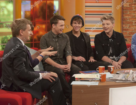 Aled Jones and Lorraine Kelly with District 3 - Micky Parsons, Dan Ferrari-Lane, Greg West