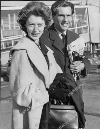 Moira Shearer Ballet Dancer & Actress With Husband Journalist Ludovic Kennedy London Airport 1958.