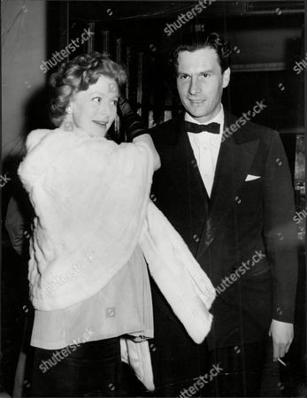Moira Shearer Ballet Dancer & Actress With Husband Journalist Ludovic Kennedy At Bolshoi Ballet's Production Of Romeo & Juliet Covent Garden 1956.