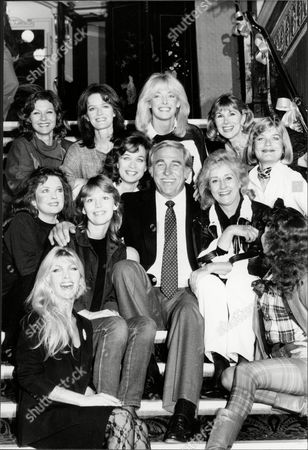 Stock Picture of Howard Keel Actor & Singer With Actresses Deborah Watling Diana Moran Susan Hampshire Lynsey De Paul Judy Geeson Liz Fraser Pamela Salem Judy Loe And Tessa Wyatt At Rehearsals For Royal Variety Show 1984.