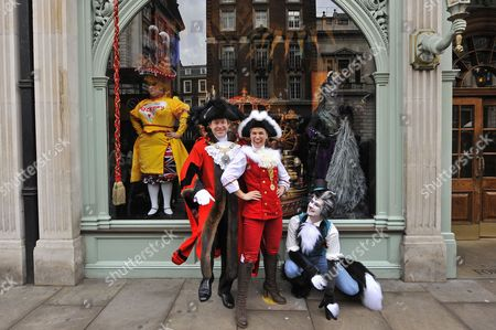 Lord Mayor of London Alderman Roger Gifford and characters from the Dick Whittington and his Cat pantomine